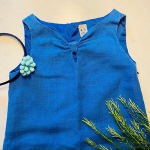 Zara Girls' Blue Bow A-lone Dress Sz 4-5 EUC